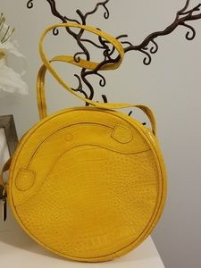 Yellow Leather Circle Crossbody